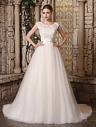 cheap -Ball Gown Jewel Neck Court Train Lace / Tulle Regular Straps Wedding Dresses with Lace / Buttons / Beading 2020