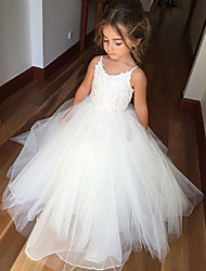 cheap -Princess Long Length Wedding / Birthday / Pageant Flower Girl Dresses - Cotton / Tulle Sleeveless Jewel Neck with Lace / Appliques