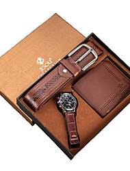 cheap -Men's Dress Watch Quartz Gift Set Casual Chronograph Luminous Casual Watch Analog Brown / Two Years / Leather / Large Dial / Two Years