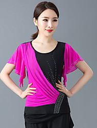 cheap -Ballroom Dance Top Beading Tiered Women's Training Performance Short Sleeve Elastic Crystal Cotton Polyester