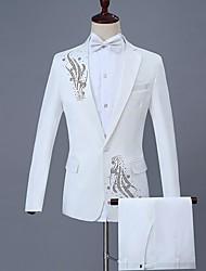 cheap -Men's Suits Notch Lapel Polyester Black / Red / Purple / Slim