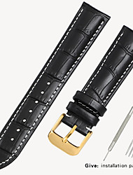 cheap -Black watch with crocodile leather strap Men and women butterfly buckle for Armani Tianwang Tissot dw Citizen 12/14/16/18/19mm