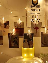 Недорогие -3 м держатели для фотографий клипса фонари в форме пентаграммы 20 светодиодов теплые белые декоративные батарейки 1 комплект