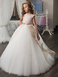 cheap -Princess Sweep / Brush Train Wedding / Birthday / Pageant Flower Girl Dresses - Lace / Tulle / Cotton Cap Sleeve Jewel Neck with Lace / Bow(s) / Embroidery