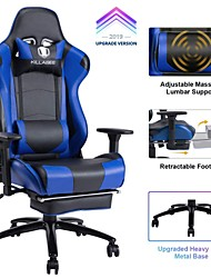 cheap -KILLABEE Big and Tall 350lb Massage Memory Foam Gaming Chair - Adjustable Massage Lumbar Cushion Retractable Footrest and 2D Arms High Back Ergonomic...