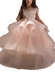 cheap -Ball Gown Sweep / Brush Train Flower Girl Dress - Lace / Organza / Tulle Short Sleeve Boat Neck with Heart / Beading / Belt