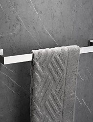 cheap -Bathroom Towel Bar Rectangle Metal Wall Mounted Bath Single Towel Hanger Polished Silvery 1pc