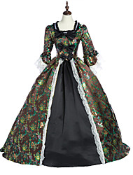 cheap -Princess Maria Antonietta Floral Style Rococo Victorian Renaissance Dress Party Costume Masquerade Women's Lace Costume Coffee Vintage Cosplay Christmas Halloween Party / Evening 3/4 Length Sleeve