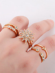 cheap -Women's Ring Ring Set Multi Finger Ring 6pcs Gold Imitation Diamond Alloy European Fashion Daily Street Jewelry Moon Star North Star