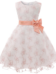 cheap -Kids Toddler Girls' Basic Sweet Dusty Rose Floral Bow Sleeveless Knee-length Dress Blushing Pink / Cotton