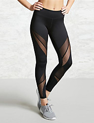 cheap -Women's High Waist Yoga Pants Patchwork Black Mesh Elastane Running Fitness Gym Workout Tights Leggings Sport Activewear Quick Dry Butt Lift Tummy Control Power Flex High Elasticity Skinny