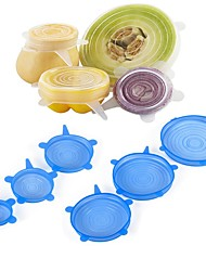 cheap -6Pcs Food Wraps Reusable Silicone Food Fresh Keeping Sealed Covers Silicone Seal Vacuum Stretch Lids Saran Wraps Organization
