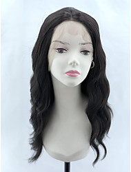 cheap -Wavy Loose Curl Layered Haircut Asymmetrical Lace Front Wig Medium Length Black#1B Synthetic Hair 20 inch Women's Synthetic Hot Sale Middle Part Sew in Black