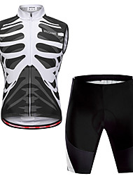 cheap -WOSAWE Men's Long Sleeve Cycling Jersey with Shorts Winter Fleece Black / White Skeleton Bike Vest / Gilet Padded Shorts / Chamois Quick Dry Reflective Strips Back Pocket Sports Skeleton Mountain