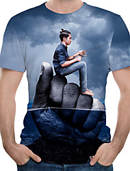 cheap -Men's Color Block 3D Print T-shirt Holiday Daily Wear Round Neck Navy Blue / Short Sleeve