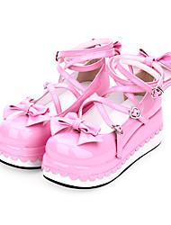 cheap -Women's Lolita Shoes Sweet Lolita Princess Lolita Wedge Heel Shoes Color Block 7 cm Black Pink Red PU Leather Halloween Costumes