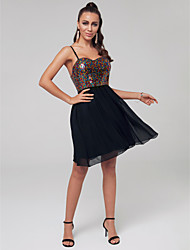 cheap -A-Line Strapless Short / Mini Chiffon / Sequined Sexy / Sparkle & Shine Cocktail Party Dress 2020 with Sequin