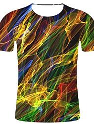 Недорогие -Муж. С принтом Большие размеры - Футболка Хлопок, Круглый вырез 3D / Радужный Цвет радуги