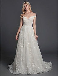 cheap -A-Line Illusion Neck Sweep / Brush Train Lace / Tulle Sleeveless Made-To-Measure Wedding Dresses with Beading / Lace 2020