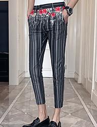 cheap -Men's Basic Slim Jogger Pants - Striped White Black 33 34 36