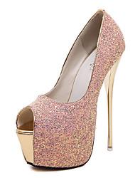 cheap -Women's Heels Stiletto Heel Peep Toe Sequin Synthetics Sweet / British Fall / Spring & Summer Black / White / Light Pink / Wedding / Party & Evening / Party & Evening