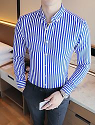 Недорогие -Муж. Полоски Рубашка Белый / Черный / Синий / Красный / Темно синий / Светло-синий