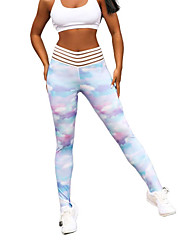 cheap -Women's Yoga Pants Fashion Elastane Running Fitness Gym Workout Tights Leggings Bottoms Activewear Moisture Wicking Butt Lift Tummy Control Power Flex High Elasticity Skinny / Tie Dye