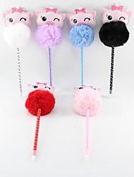 abordables -pu cheveux boule rose cochon crayon bleu plomb bille artisanat cadeaux pour les enfants apprenant la papeterie de bureau