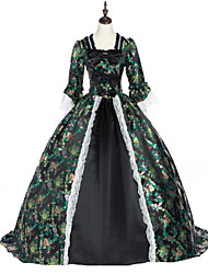 cheap -Princess Maria Antonietta Floral Style Rococo Victorian Renaissance Dress Party Costume Masquerade Women's Lace Costume Black (iPhone4) Vintage Cosplay Christmas Halloween Party / Evening 3/4 Length