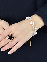 cheap -Women's Chain Bracelet Link / Chain Ball Vertical / Gold bar Stylish Sweet Fashion Imitation Pearl Bracelet Jewelry White For Wedding Gift Street Festival
