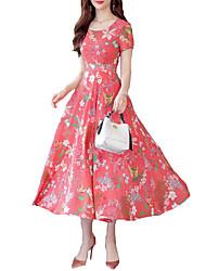 cheap -Women's Basic A Line Dress - Maxi Geometric Blue Red Yellow XXL XXXL XXXXL
