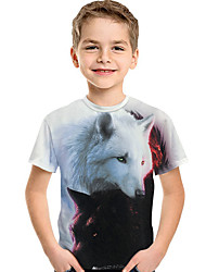 abordables -Enfants Bébé Garçon Actif Basique Loup Géométrique 3D Animal Imprimé Manches Courtes Tee-shirts Blanche