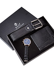 cheap -Men's Dress Watch Analog Quartz Gift Set Minimalist Chronograph Creative Casual Watch / Two Years / Leather