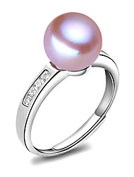 cheap -Freshwater Pearl Open Ring Pearl S925 Sterling Silver For Women's Round Classic & Timeless Simple Style Fashion Event / Party Date High Quality Modern Style Blessed 1pc