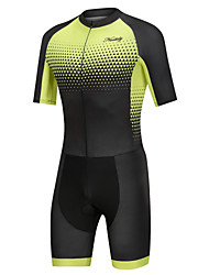 cheap -Nuckily Men's Short Sleeve Triathlon Tri Suit Black / Yellow Gradient Bike Clothing Suit Windproof Breathable Quick Dry Sports Spandex Geometric Mountain Bike MTB Road Bike Cycling Clothing Apparel