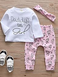 cheap -Baby Girls' Casual Active Print Print Long Sleeve Regular Clothing Set White / Toddler