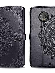Недорогие -Кейс для Назначение Motorola MOTO G6 Бумажник для карт / Флип Чехол Однотонный Твердый Кожа PU