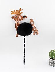 abordables -noël en plastique pu stéréoscopique cheveux boule de cerf bleu crayon plomb bille artisanat cadeaux pour enfants apprendre bureau papeterie