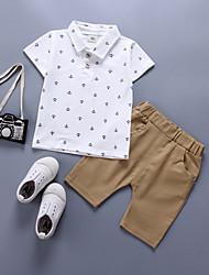 cheap -Baby Boys' Basic Print Short Sleeve Regular Regular Cotton Clothing Set Gray / Toddler
