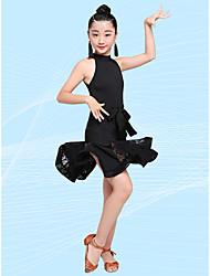 Недорогие -Латино Детская одежда для танцев Юбки Рюши / сборки Девочки Выступление Без рукавов Завышенная талия Молочное волокно