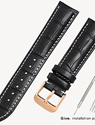 cheap -Black watch with crocodile leather strap Men and women butterfly buckle for Armani Tianwang Tissot dw Citizen 14/16/18/19mm