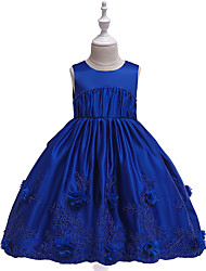 cheap -Ball Gown Midi Flower Girl Dress - Cotton Blend / Tulle Sleeveless Jewel Neck with Bow(s) / Pleats