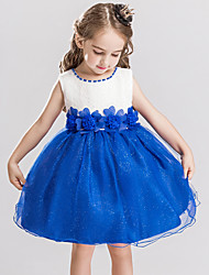 cheap -Princess Midi Wedding / Birthday Lace / Tulle / Polyester Sleeveless Jewel Neck with Lace / Bow(s) / Pearls