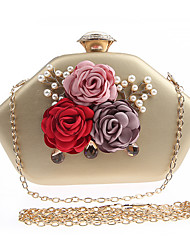 cheap -Women's Flower Polyester Evening Bag Floral Print Black / White / Gold