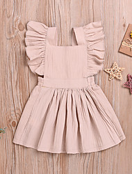 cheap -Baby Girls' Boho / Street chic Solid Colored Backless / Ruffle Sleeveless Above Knee Linen Dress Beige / Toddler