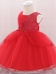 cheap -Baby Girls' Active Solid Colored Bow / Layered / Pleated Sleeveless Knee-length Dress Blushing Pink