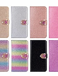 cheap -Phone Case For Apple Full Body Case Leather Wallet Card iPhone 12 Pro Max 11 SE 2020 X XR XS Max 8 7 6 Wallet Card Holder Rhinestone Heart Glitter Shine Hard PU Leather