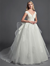 cheap -Ball Gown Wedding Dresses V Neck Cathedral Train Lace Organza Tulle Sleeveless Glamorous Illusion Detail with Lace Beading 2020