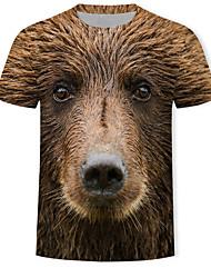 abordables -Tee-shirt Homme, 3D / Animal / Bande dessinée Imprimé Marron