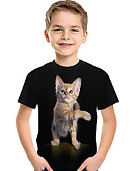 cheap -Kids Toddler Boys' Active Basic Cat Print 3D Animal Print Short Sleeve Tee Black